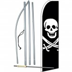 Skull And Bones Extra Wide Swooper Flag Bundle