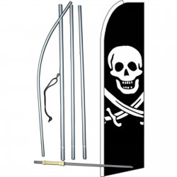 Skull And Bones Extra Wide Swooper Flag Bundle
