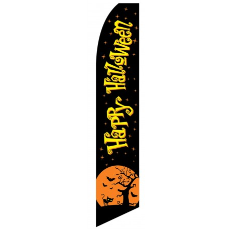 Happy Halloween Black Moon Swooper Flag