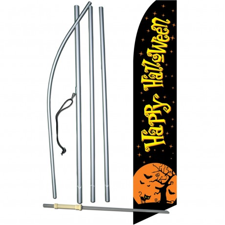 Happy Halloween Black Moon Swooper Flag Bundle