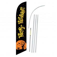 Happy Halloween Black Moon Windless Swooper Flag Bundle