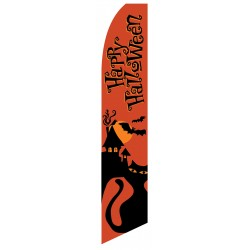 Happy Halloween Orange Cat Swooper Flag