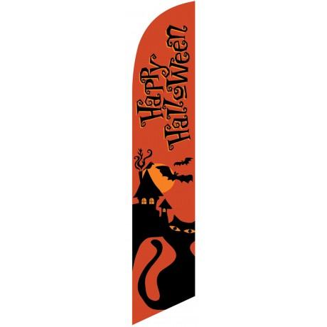 Happy Halloween Orange Cat Windless Swooper Flag