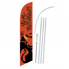 Happy Halloween Orange Cat Windless Swooper Flag Bundle