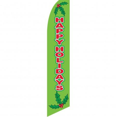 Happy Holidays Mistletoe Swooper Flag