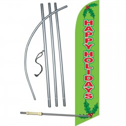 Happy Holidays Mistletoe Windless Swooper Flag Bundle