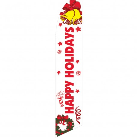 Happy Holidays Bells Swooper Flag
