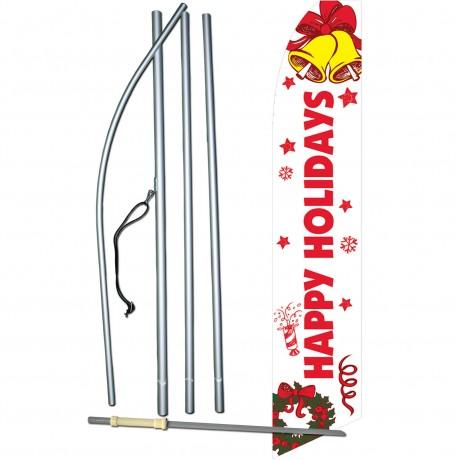 Happy Holidays Bells Swooper Flag Bundle