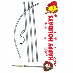 Happy Holidays Bells Windless Swooper Flag Bundle