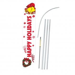 Happy Holidays Bells Windless Swooper Flag Bundle