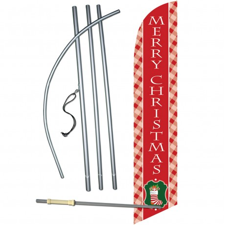 Merry Christmas Stocking Windless Swooper Flag Bundle