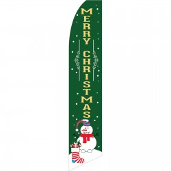 Merry Christmas Snowman Green Swooper Flag