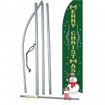 Merry Christmas Snowman Green Swooper Flag Bundle