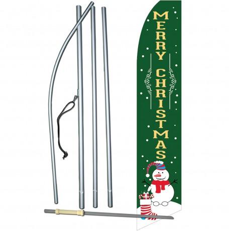 Merry Christmas Snowman Green Swooper Flag Bundle