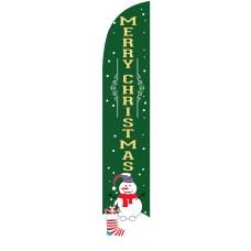 Merry Christmas Snowman Green Windless Swooper Flag