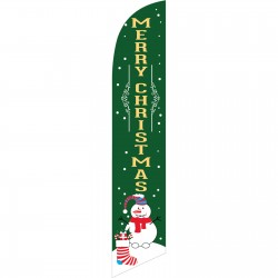 Merry Christmas Snowman Green Windless Swooper Flag