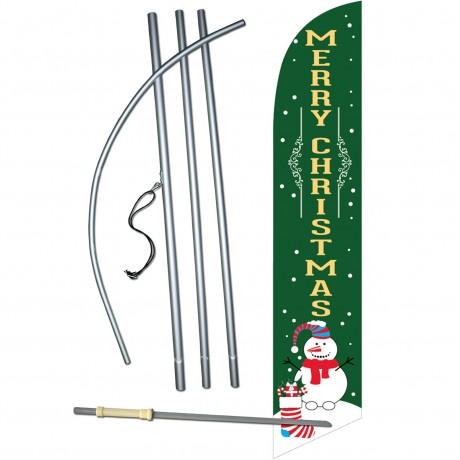 Merry Christmas Snowman Green Windless Swooper Flag Bundle