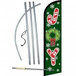 Joy Green Christmas Windless Swooper Flag Bundle