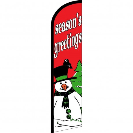 Seasons Greetings Snowman Windless Swooper Flag