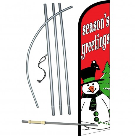 Seasons Greetings Snowman Windless Swooper Flag Bundle