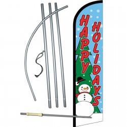 Happy Holidays Snowman Windless Swooper Flag Bundle