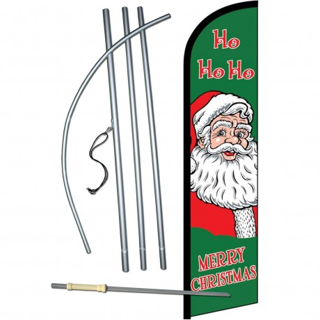 Merry Christmas Ho Ho Ho Windless Swooper Flag Bundle