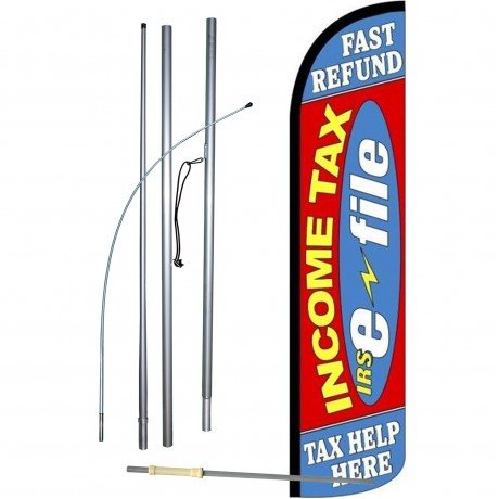 Income Tax E-File Fast Refund Red Windless Swooper Flag Bundle
