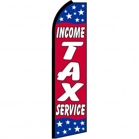 Income Tax Service Red Stars Swooper Flag
