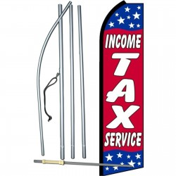 Income Tax Service Red Stars Swooper Flag Bundle