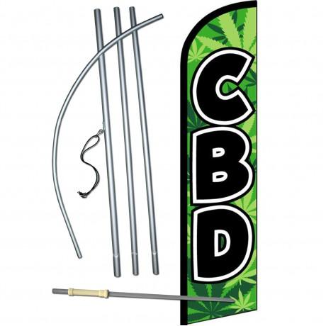 CBD Green Windless Swooper Flag Bundle