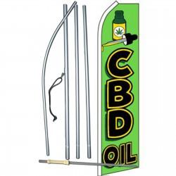 CBD Oil Green Swooper Flag Bundle