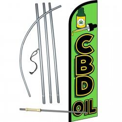 CBD Oil Green Windless Swooper Flag Bundle