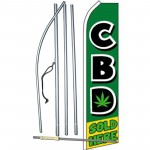 CBD Sold Here Green Swooper Flag Bundle