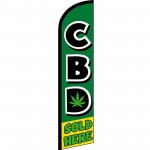 CBD Sold Here Green Windless Swooper Flag