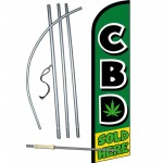 CBD Sold Here Green Windless Swooper Flag Bundle