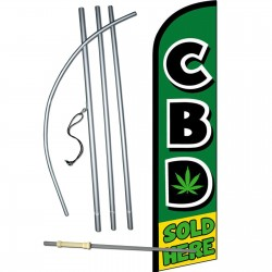 CBD Sold Here Green Windless Swooper Flag Bundle