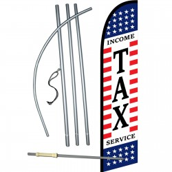 Income Tax Service Stars & Stripes Windless Swooper Flag Bundle