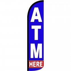 ATM Here Blue Windless Swooper Flag