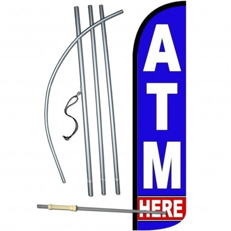 ATM Here Blue Windless Swooper Flag Bundle