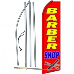 Barber Shop Red Extra Wide Swooper Flag Bundle