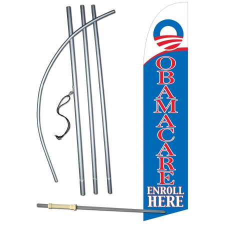 Obamacare Enroll Here Windless Swooper Flag Bundle