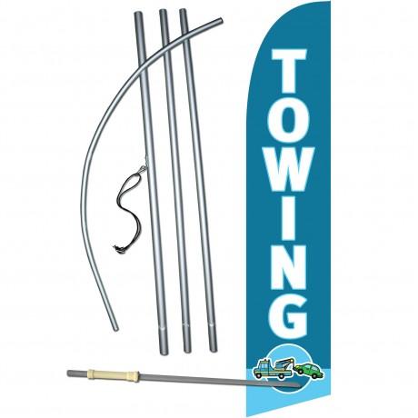 Towing Blue Windless Swooper Flag Bundle