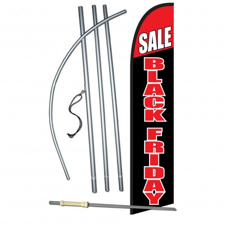 Black Friday Sale Black Red Windless Swooper Flag Bundle
