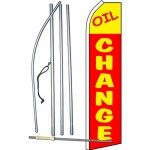 Oil Change Red Yellow Swooper Flag Bundle