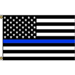 Thin Blue Line USA Black 3' x 5' Polyester Flag