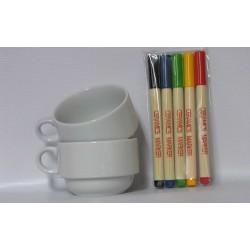 Customizable Stacking Mugs + Marker Set