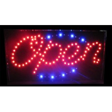 """13"""" x 24"""" Open LED Sign Blue Tracer"""