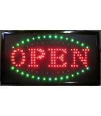"Open LED Sign Red With Blue and Green Flash 13""H X 24""W"