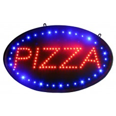 "14""H x 23""W Oval Pizza LED Sign In Red & Blue"