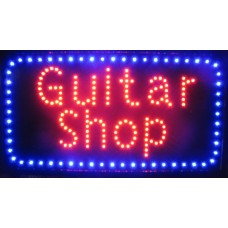 "13"" x 24"" Guitar Shop LED Sign"